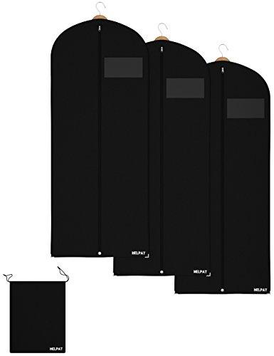 HELPAT 3X Kleidersack inkl. Schuhbeutel | 150 x 60 cm | schwarz | Hochwertiger Anzugsack | Atmungsaktive Kleiderhülle