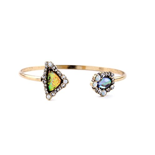 Lares Domi Vintage Gold-tone cristallo Incrusted simulato opale Elegante Stile vittoriano anniversario braccialetto