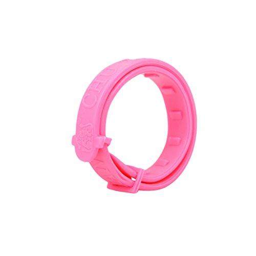 Ueetek pvc collane regolabili per cani gatti, zecche, animali collane e collane antiparassitario per cani contro pulci e zanzare (rosa)