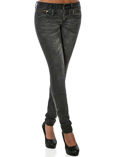 Damen Skinny Jeanshose Stretch DA 15928 Frauen Jeans Hose Slim-Fit Denim Damenhose Stretchjeans Schwarz L / 40