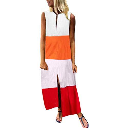 MCYs ❤ Frauen Sleeveless V Ansatz Farben Patchwork gedrucktes Beiläufiges langes Maxi Strand Kleid
