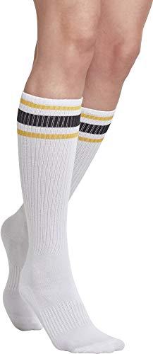 Wht Blk Herren Sneakers (Urban Classics Herren Long Stripe 2-Pack Socken, Mehrfarbig (Wht/Chromeyellow/Blk 01429), 39-42 (erPack 2))
