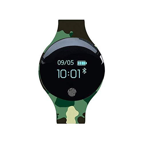 Mygsn Watch Kinder Fitness Tracker - Smart Armband Silikon Bluetooth Kinderuhr Camouflage Sport Schrittzähler Watch (Farbe : C)