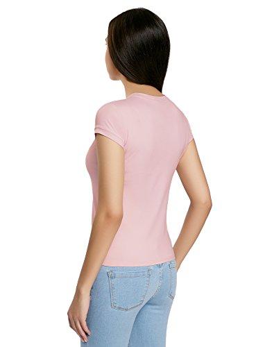 oodji Ultra Donna T-Shirt a Girocollo in Tessuto Elastico Rosa (4000N)