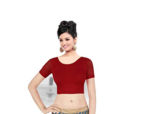 Fertige, Free Size Saree Blouse, Blusen, Bollywood, Sari, Goa, Indien, Hochzeit, Kleid, Oberteil, Party,187 (Ant Cherry red) -