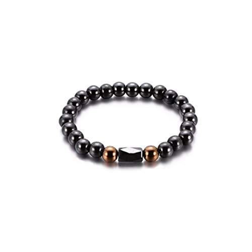 Asmei Unisex Schwarz Perlen Armband Retro Schwarz Oval Armband Für Weiblich Männlich