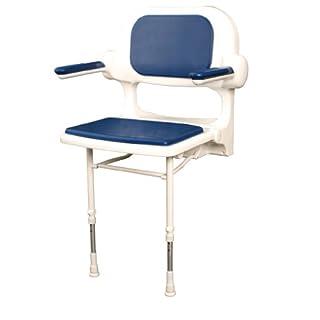 GAH-Alberts 140397 Polstersitz mit Rücken- und Armlehnen - höhenverstellbar, mit Stützfüßen, Kunststoff, weiß mit blauem Polster, 460 x 390 mm