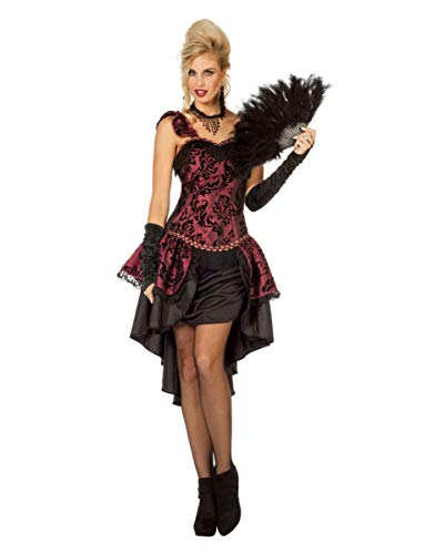 Horror-Shop Burlesque Tänzerin Damen Kostümkleid Bordeaux für Fasching ()