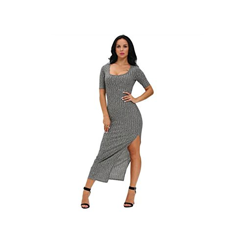 PU&PU Femmes Casual / Party / Cocktail Club Chic Slim Slit Maxi Robe, U Manche courte Grey