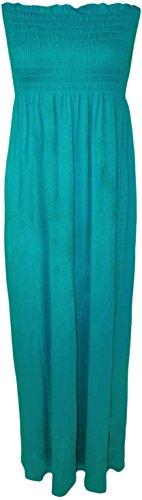 WearAll - Damen einfachen shirred bandeau trägerloses mit rüschen besetztes langes Maxi Kleid - 12 Farben - Größe 36-42 Türkis