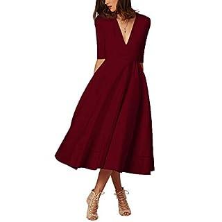Damen sexy v-Ausschnitt Partykleid Abendkleider Cocktailkleid Elegant 1/2 arm Casual klassischer Stil Kleid lang,S-3XL, S, Weinrot