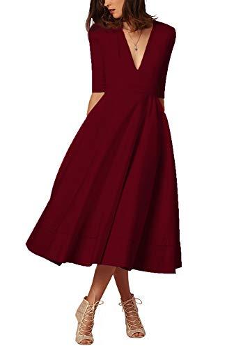 Damen sexy v-Ausschnitt Partykleid Abendkleider Cocktailkleid Elegant 1/2 arm Casual klassischer Stil Kleid lang,S-3XL, XXL, Weinrot - Lange Ärmel, Eine Tasche