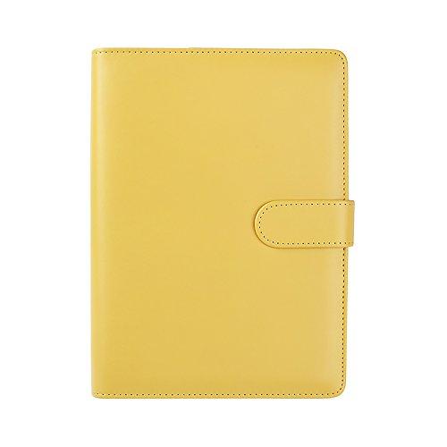 Jia HU A6Leder nachfüllbar Notebook Bezug ersetzen Binder Ringe mit Stiftschlaufe, Innentasche gelb