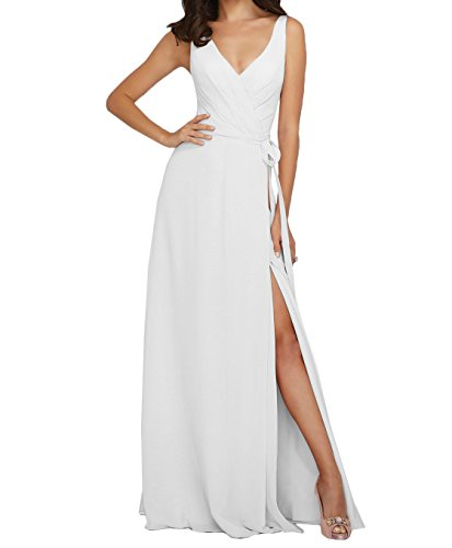La_Marie Braut Rosa Anmutig Chiffon V-ausschnitt Brautjungfernkleider Partykleider Abendkleider Lang A-linie Weiß