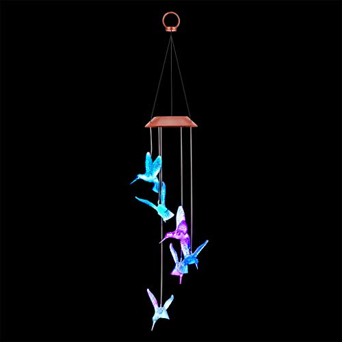 Factorys LED Kolibri Windspiele LED Solar Windspiele Outdoor wasserdichte Solar LED Wechselnde Lichtfarbe 6 Mobile Romantic Wind-Bell -
