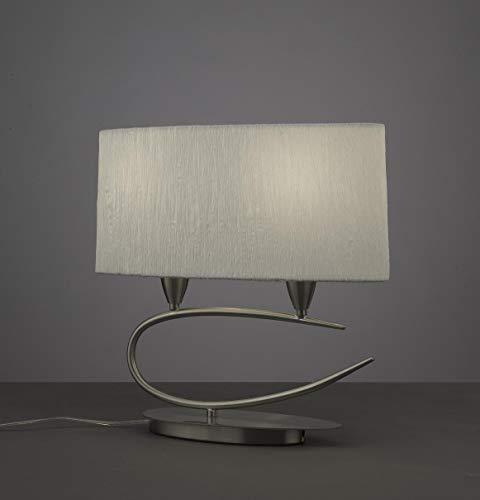 Satin 2l (Mantra Iluminazion Tischleuchte 2L LUA - SATIN NICKEL + WHITE SHADE 2 x 13W E27)