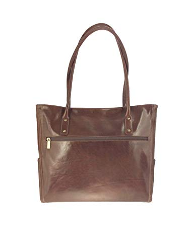 Giudi ® Shopper Damen Groß Echtleder Braun Tote Bag Handtasche Schultertasche Henkeltasche Business Elegant Dezent Trend Hochwertig Ökoleder Nachhaltig
