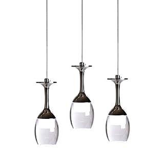 KJLARS 3W X 3 Weinglas LED Pendelleuchte Hängelampe für Wohnzimmer- Bar Salon Esszimmer kühlweiß Leuchtmittel Hängeleuchte