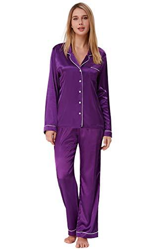 2 Stück Zwei Stück Pyjama Set (Damen Pyjama Seide Übergröße Lange Ärmel 2 Stück Schlafanzüge Satin Lang Lila Größe XXL)