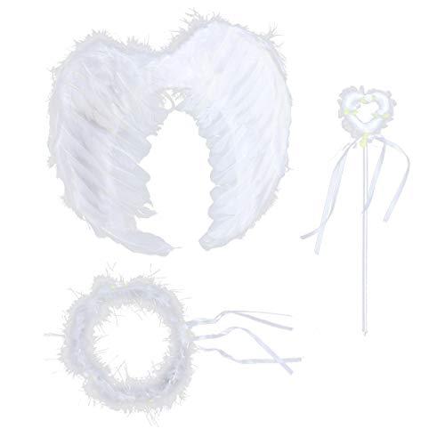 Amosfun 3 Stück Weiße Engel Flügel Kostüm Engelsflügel mit Stirnband und Zauberstab Set Fotografie Requisiten für Kinder Mädchen Damen (Kleine) (Kostüm Engel Kleiner)