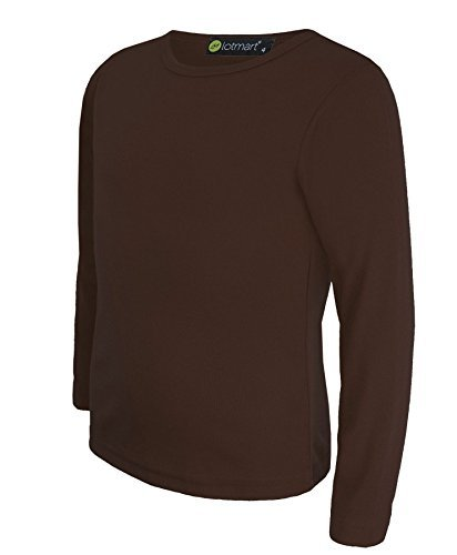 Kinder Uni Einfach Top Langärmelig Mädchen Jungen T-Shirt Oberteile Crew Uniform T-Shirt - Dunkelbraun, Damen, 134-140