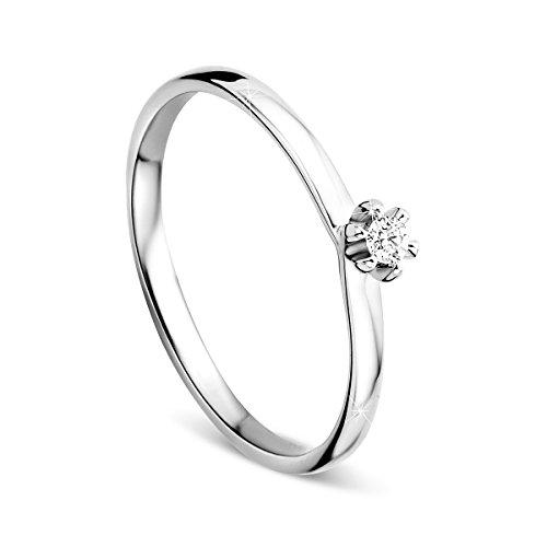 Orovi - anello di fidanzamento da donna, solitario, in oro bianco da 9carati (375) con diamanti da 0,04 carati e oro bianco, 15, colore: gold, cod. or72061r55