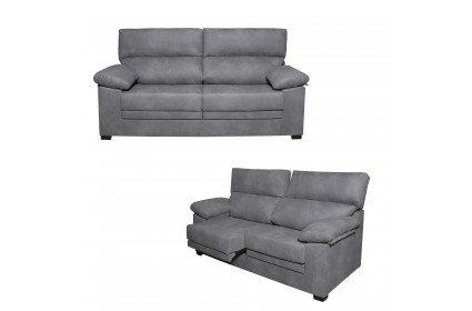 Conjunto de sofás tres y dos plazas tapizados en tela. Cabezal reclinable y asientos deslizantes.