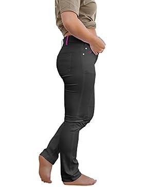 [Patrocinado]strongAnt Elasticos Pantalones Mujer Venezia YKK, de 5 DE Bolsillo de Algodón Estilo Jeans 260 gm - Pantalones...