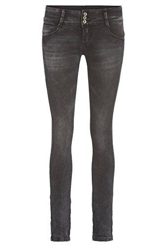 HAILYS Skinny Jeans mit Destroyed-Effekten - Damen Hose Denim Frauen Stretch Röhre lang casual schwarz,L (Skinny Lange Extra Jeans)