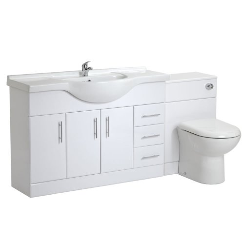 Trueshopping 1200mm White Gloss Bathroom Vanity Furniture Storage Drawer Unit Sink and Back to Wall Toilet Set