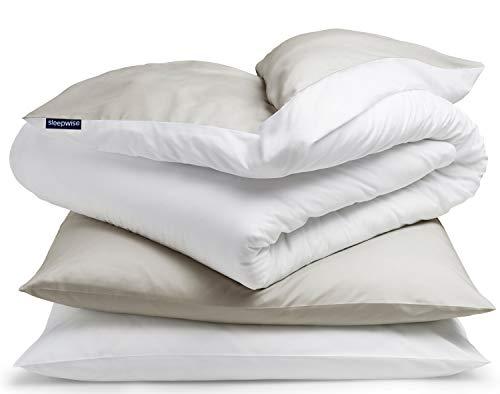 """sleepwise """"Soft Wonder"""" Bettwäsche   extra-kuschelig, atmungsaktiv, faltenfrei, hypoallergen   Ganzjahres Bettbezug-Set   3teilig - 155x200cm und 2X 80x80 Kissenbezüge   Sand/weiß"""