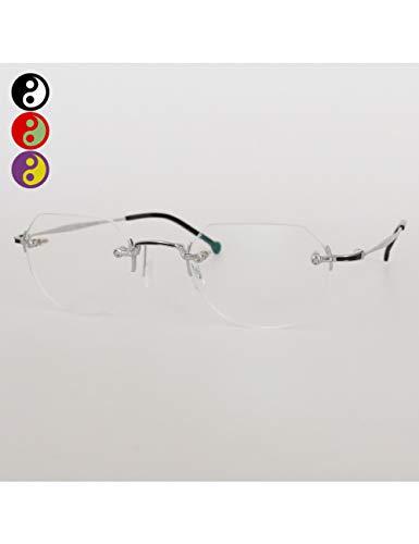 MOMOQU Sun Glasses Rahmenloser Ultraleichter Glasrahmen Aus Reinem Titan Weiblicher Japanischer Rahmen Mit Myopischem Retro-Klassischem Pigment Dekoratives Glasrahmengesicht, B