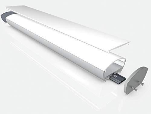 2m (31,06 EUR/m) Mexlite Aufbau-LED-Alu-Profil MEX-LN68 50x18,6mm Abdeckung opak Leiste Schiene für LED-Streifen/Stripe, mit Abdeckung oval & 2 Clip