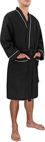 Morgenmantel für Herren aus Baumwolle mit Waffeloptik Farbe Schwarz Größe XXL