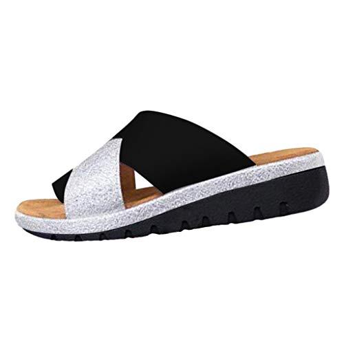 Riou Sandales Plates Femmes-2019 New Women Sandal Shoes Comfy Platform Sandal Shoes Summer Beach Travel Shoes Semi Trailer Sandals Chaussures Sandale Femme (Black 1, 42)