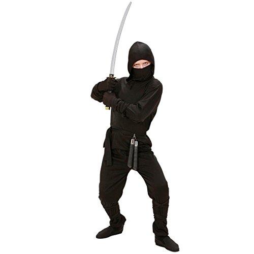 NET TOYS Kinder Ninja Kostüm Samurai Krieger Kämpfer Kinderkostüm Ninjakostüm schwarz L 156cm 11-13 Jahre (Schwarze Kostüm Ninja Kämpfer, Kind)