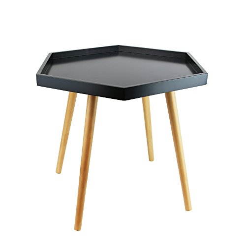 THE HOME DECO FACTORY HD3203 Table plateau hexagonale MDF Noir 60 x 60 x 49,50 cm