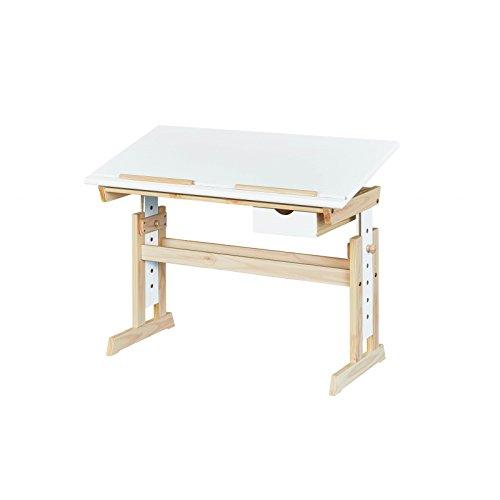 Inter Link Ergonomischer Kinderschreibtisch Höhenverstellbar Neigbare Tischplatte MDF weiß Kinderzimmer Jugendzimmer