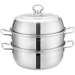 Cuiseur à vapeur en acier inoxydable 2 couches épaisses double fond pot à soupe ménage à une seule couche vapeur cuiseur à induction universel 32 cm