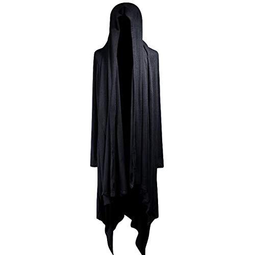 qiansu Herren Kapuzen Drapiert Cardigan mit Schalkragen Leichte Luftig Lang Strickjacke Gothic Open Jacke Lose Unregelmäßiges Hooded Mantel