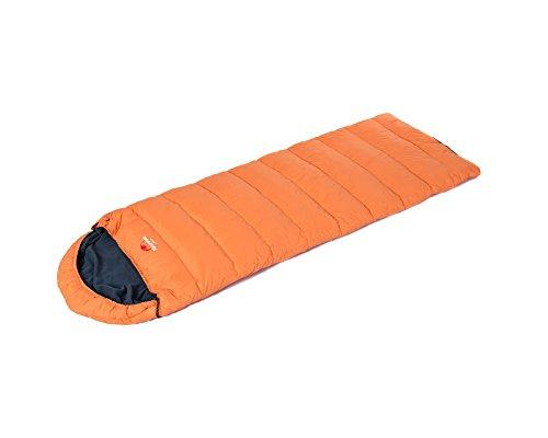 Tofern Koppelbarer Outdoor Daunen-Hohle Baumwolle Schlafsack mit Kopfteil Winter Herbst Frühling bis -10 Grad (Orange) -