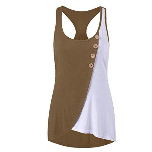 Yvelands Damen Weste Unterhemd Camisoles Damen Rundhals-Button Ärmellos Kontrast Stitching Tank ()