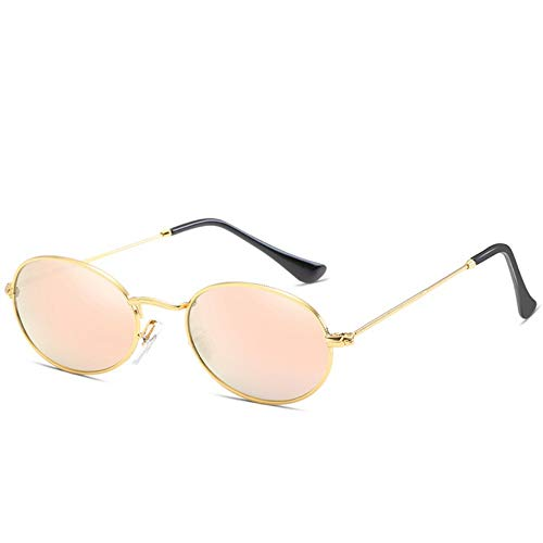 MJDABAOFA Sonnenbrillen,Metall Ovale Sonnenbrille Frauen Vintage Gold Frame Pink Objektiv Spiegel Runde Gläser Street Beat Uv400