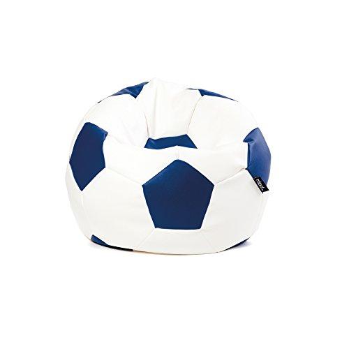 MiPuf - Puff Futbol Original - 60cm diámetro - Tejido Polipiel Alta Resistencia - Doble Cremallera - Relleno Incluido - Azul Marino y Blanco - 4 años de Garantía