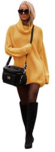 Mikos Damen Strickpullover Sweater Rollkragen Pullover Kuscheliger Jumper Strick Pulli Oversize (648) (Curry)