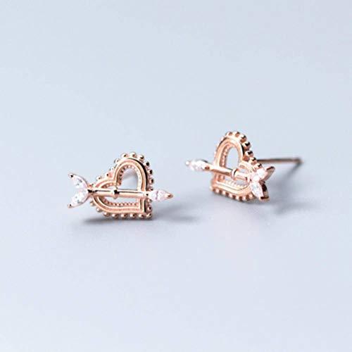 Golden_flower S925 Silber Ohr Nagel Frauen Koreanischen Stil Natürliche Kleine Frische Diamantbesetzte Pfeil Herzförmige Ohrringe Schmuck, Rotgold, 925er Silber (Goldene Ohrringe Kleine Pfeil)