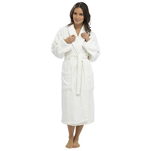 Femmes Robe De Chambre Serviette Éponge 100% Robe De Coton Blanc