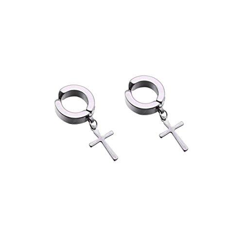 Fenical Ohr Manschette Clip auf Ohrringe ohne Piercing Frauen Männer Ohrring Manschette No Pierced No Loch Ohrringe Modeschmuck (Silver Cross)