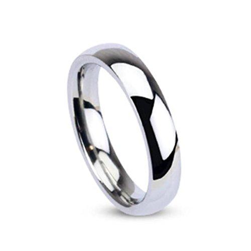 Paula & Fritz® Ring aus Edelstahl Chirurgenstahl 316L silber Klassischer Ehering hochglanz poliert 4mm Breite Ringgrößen 46 (144) – 69 (22) R001-4