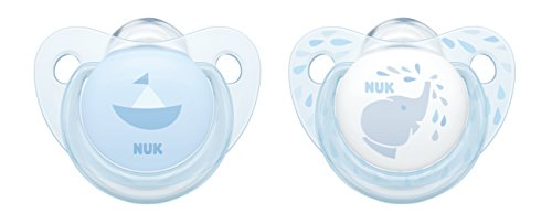 NUK 10175176 Baby Blue Trendline Silikon-Schnuller, kiefergerechte Form, 0-6m Monate, 2 Stück, blau
